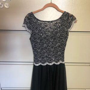 Black and silver junior dress